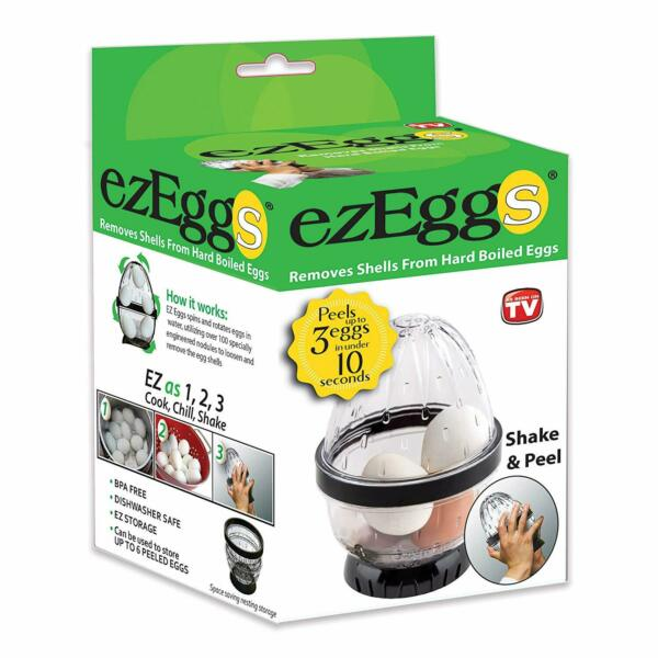 ezEggs - Hard Boiled Egg Peeler 3 Egg Peeler - As Seen On TV - New 2020! EZ EGGS
