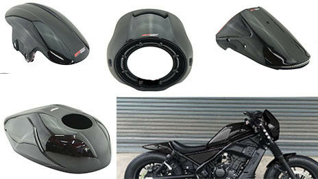 HONDA REBEL CMX 300 500 2017 BLACK VISOR TANK FENDER TAIL TIDY FAIRING COVER V.1