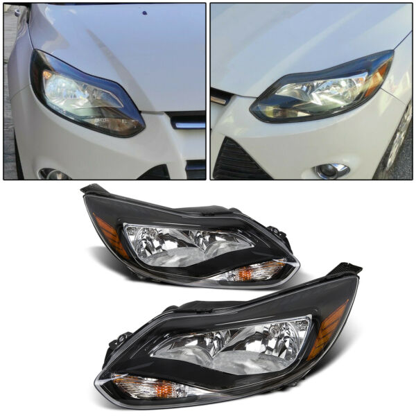 Black 2012 2013 2014 Ford Focus Headlights Headlamps Aftermarket Pair LeftRight $96.50