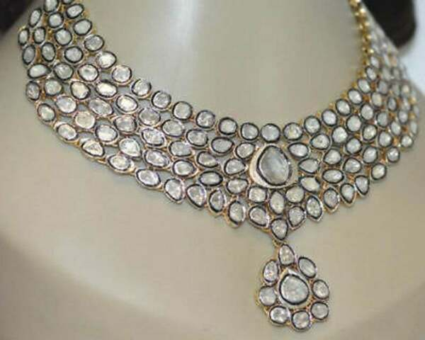 Wedding Gift Jewelry Pave Rose Cut Diamond Polki Necklace 925 Sterling Silver