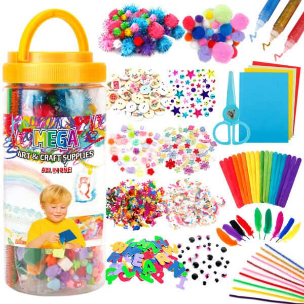 Mega Kids /Toddlers Arts and Crafts Supplies Jar Over 700 Pieces Preschool set