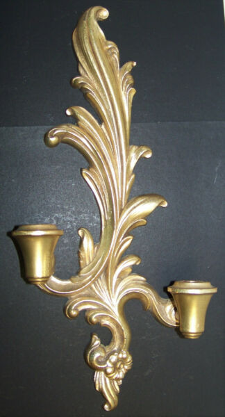 Vintage Syroco Wood Two Candle Wall Sconce G558