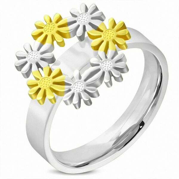 Fancy Ring Link Flower IN Snowflake Snow Stainless Steel With Link D