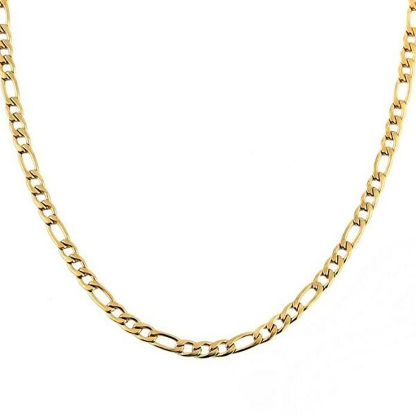 10K Solid Yellow Gold Figaro Chain Link Pendant Necklace 16quot; 18quot; 20quot; 22quot; 24quot; 30quot;