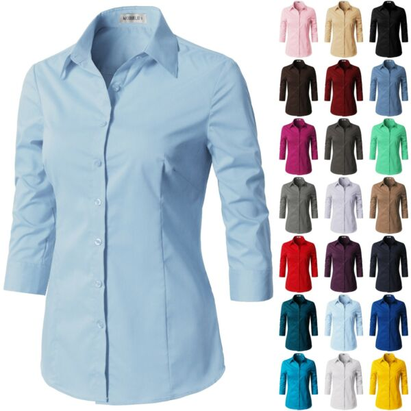 Womens Button Down Shirt Basic SLIM FIT Simple 34 Sleeve Collared Work