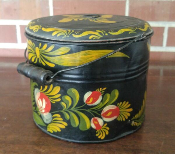 Antique Vintage Toleware Tin Pail Bucket and Lid with Hand Painted Flowers