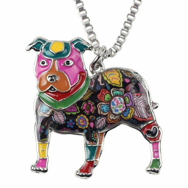 Love Heart Enamel Zinc Alloy Metal Pit Bull Buster Dog Necklace Dog Jewelry