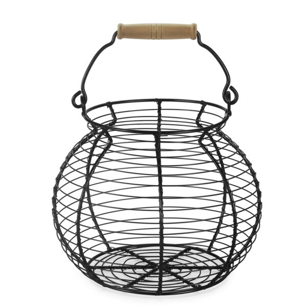 Wire Egg Storage Basket w Vintage Wooden Top Handle for Chicken Egg Carrying Co