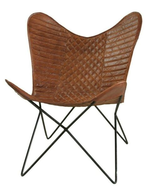 Corona Brown Butterfly Chair Iron Stand and Leather Cover (Pack of 5 )