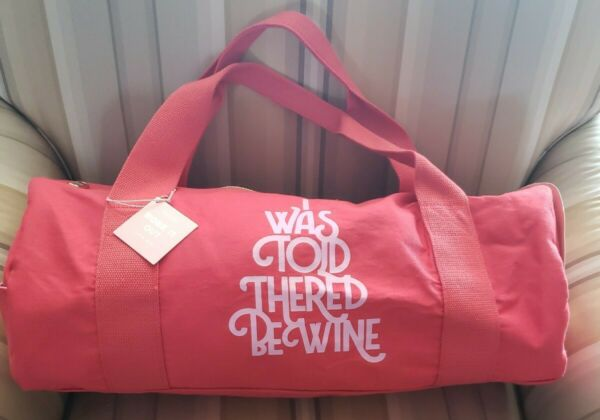 Ban.do Work It Out Gym Bag quot;I Was Told There#x27;d Be Winequot; Cotton Canvas Red NWT $22.00