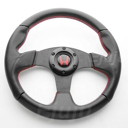 Perforated Finger Grip Black w Red Seam Steering Wheel w Horn For Honda Acura