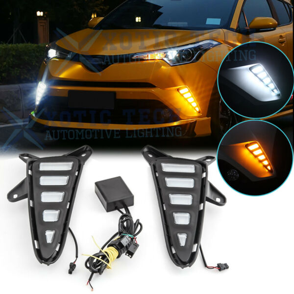 2x White Yellow DRL Daytime Running Lights LED Drive Signal For Toyota CHR C-HR