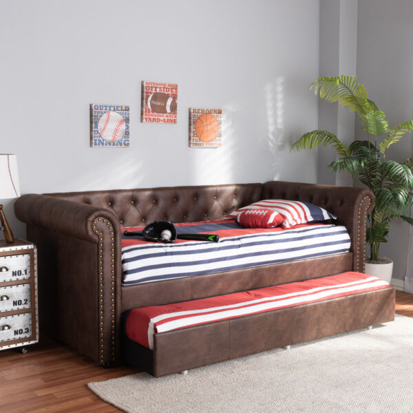Mabelle Button Tufted Faux Leather Sofa Daybed Bed Frame with Pull Out Trundle $799.99