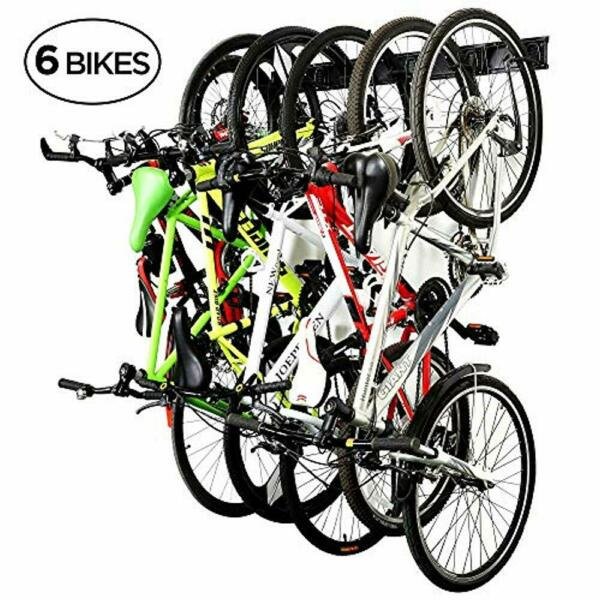 RaxGo Garage Bike Rack Wall Mounted Bicycle Storage Hanger 6 Adjustable Hooks $59.99