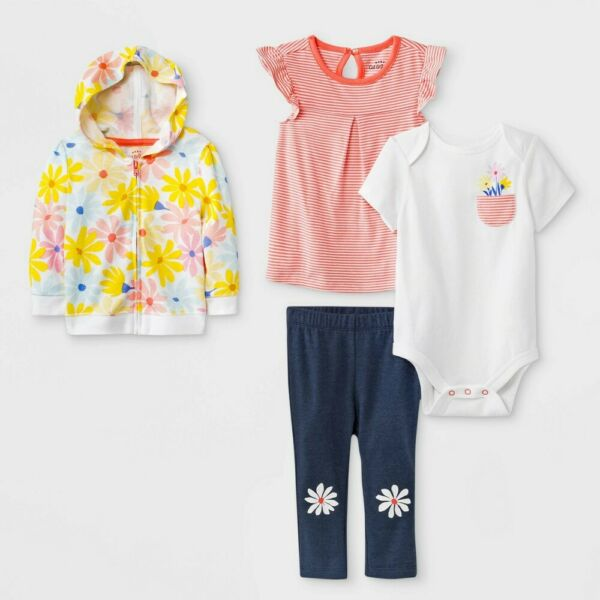 Cat amp; Jack Baby Girls#x27; 4 Piece Outfit Set Floral 6 9M