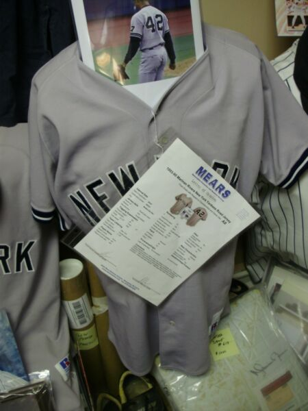1995 Yankees Mariano Rivera Signed Game Used Rookie Jersey Mears COA Photo Match