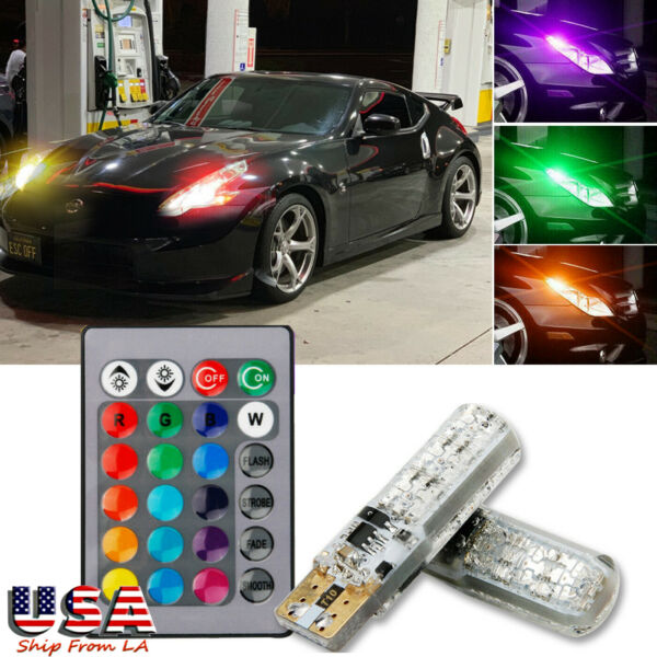 Multi-Color RGB Flashing T10 194 LED Bulbs Remote Control For Car Parking Lights