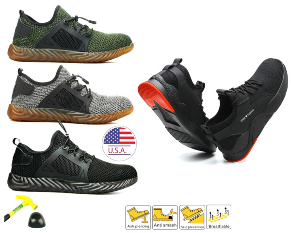Mens Steel Toe Safety Labor Shoes Work Boots Lightweight Indestructible Sneakers