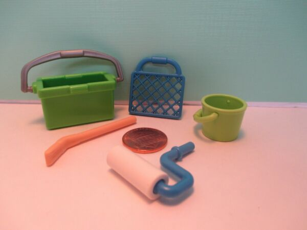 Playmobil accessories SET OF TOOLS FOR HOUSE PAINTER = PAIL + BRUSH + ROLLER etc