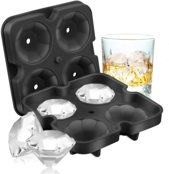 Silicone 3D Diamond ICE Cube Tray Maker Mold Whiskey Cocktails $6.99