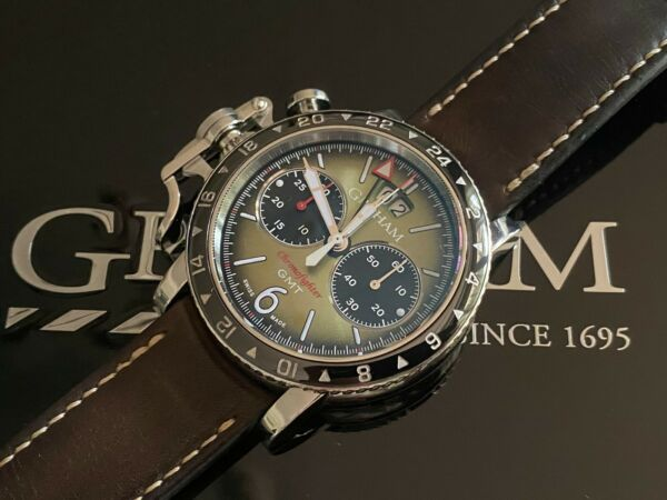 *Very Rare* Graham Chronofighter Vintage GMT Chronograph Watch in FULL SET