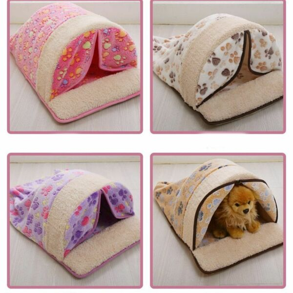 Warm Soft Dogs Kennel House Print Pattern Breathable Velvet Cloth Dog Houses New $25.49