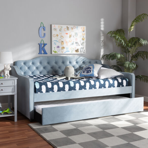 Freda Blue Velvet Tufted Fabric Sofa Daybed Frame with Pull Out Guest Trundle $602.99