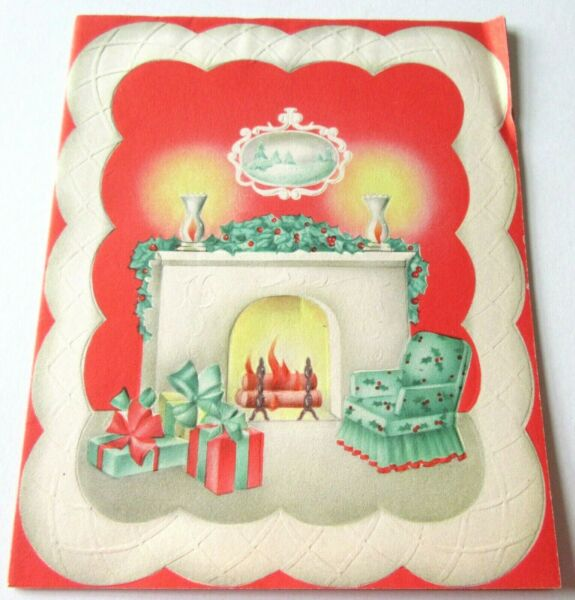 Vtg Christmas Card Fireplace Scene Chair Presents Holly Berry Garland
