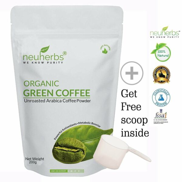 Neuherbs Organic Green Coffee beans Powder 200 g Healthy Metabolism Free Ship