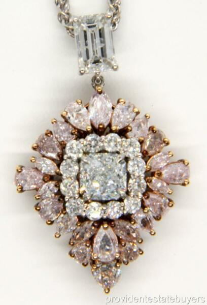 GIA 1.01 Natural Fancy Greenish Blue and Pink Diamond 18K Gold Cluster Pendant