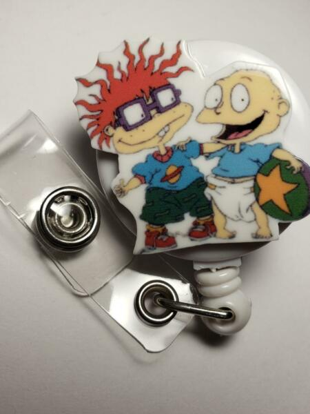 TOMMY AND CHUCKIE THE RUGRATS Badge Reel Teacher Nurse ID Badge New Cool $10.99