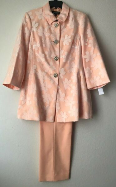 NWT $260 JOHN MEYER CORAL amp; WHITE FLOWER DETAIL PEARL BUTTON UP BLAZER PANT SUIT