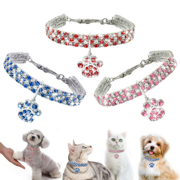 Pet Cat Dog Rhinestone Collar Puppy Necklace With Paw Pendant Kitten Chihuahua $6.79