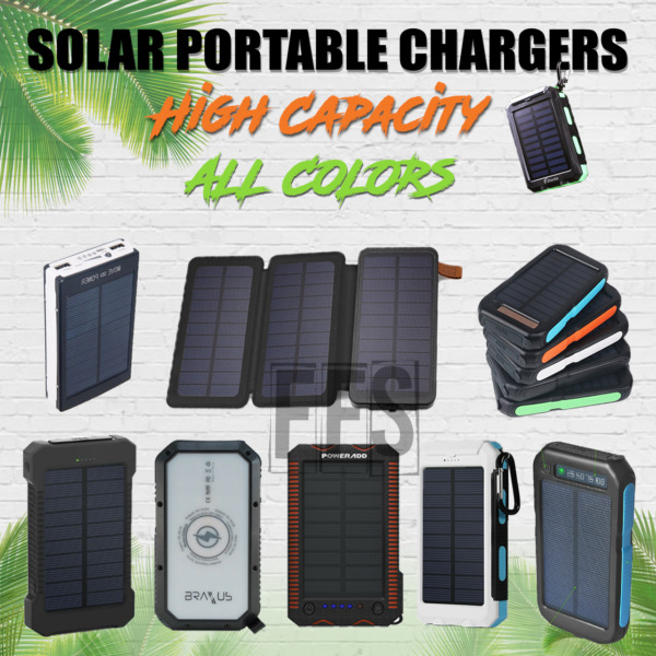 Solar Battery Charger Portable For Hiking USB lot Flash Light 10000mAh to 20000 $35.85