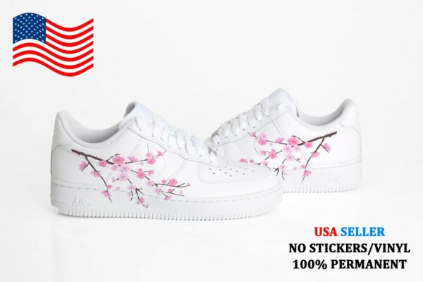 Custom Air Force 1 One PINK CHERRY BLOSSOM Sneakers Women's + Youth Sizes USA