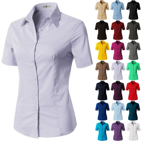 Womens Button Down Shirt Basic SLIM FIT Simple Short Sleeve Collared S010 $8.50