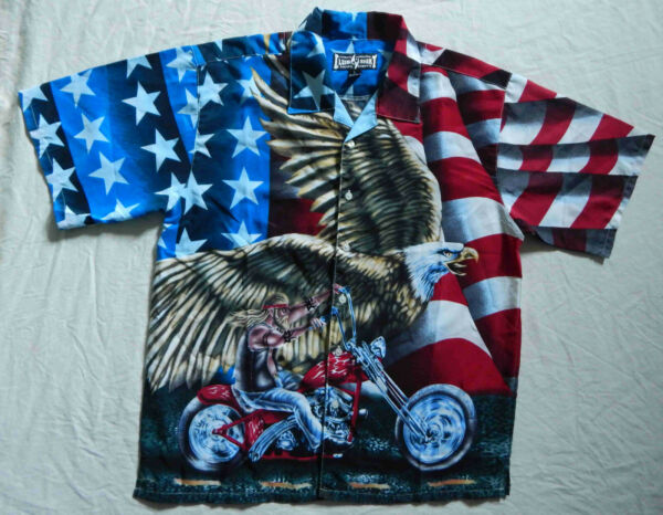 Motorcycle American Flag Short Sleeve Shirt Large Mens Psychedelic Polyester
