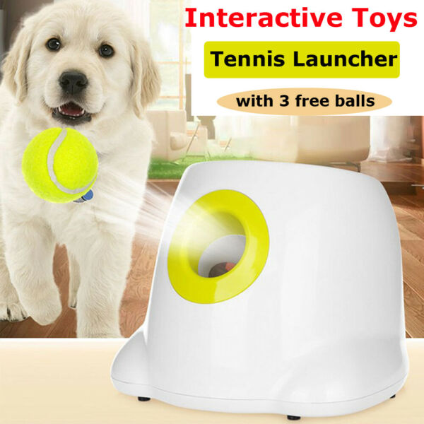 Interactive Throw Device Automatic Tennis Ball Launcher Dog Ball Thrower 3 Balls