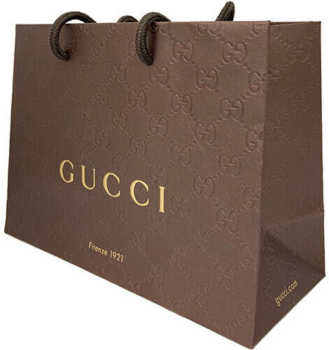 Gucci Firenze 1921 Small Brown Shopping Bag 2 Pack w Textured GG Pattern