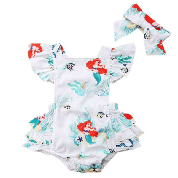 Bilo Infant Baby Girls White Little Mermaid Graphic Sunsuit Romper Outfit