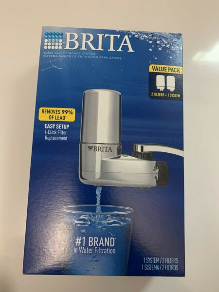 BRITA On Tap FAUCET MOUNT WATER SYSTEM CHROME 2 FILTERS FAST SHIP