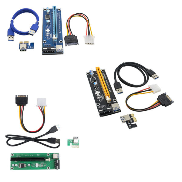 USB3.0 1x to 16x Extender Riser Card Adapter SATA Power Cable PCI-E Express B2AM