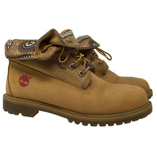 Timberland Womens Boots Roll Top Wheat Leather Stye 8259A Tan Soft Toe Size 7W $54.99