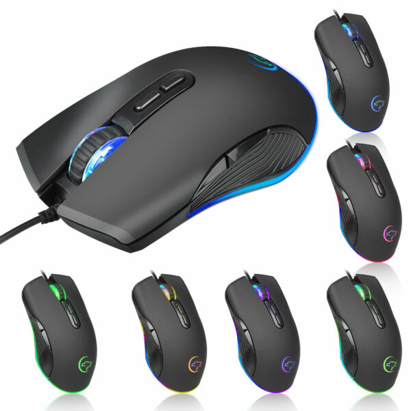 RGB Backlight Optica Gaming Wired Mouse 7 Buttons Game Mice 3200DPI Programmable