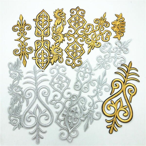 50Pcs gold silver Floral Costume Iron Sew On Embroidery Patch Lace Applique DIY