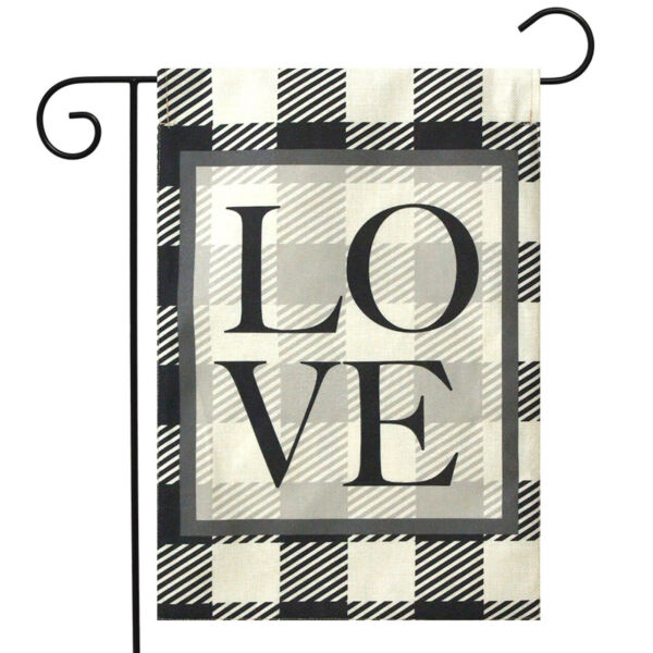 Checkered Love Everyday Burlap Garden Flag Plaid Double Sided 12.5quot; x 18quot;