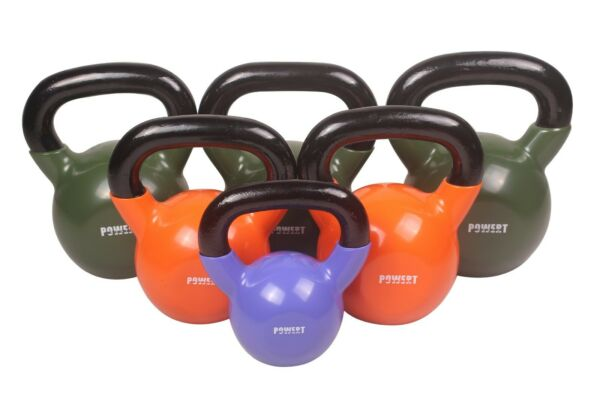 POWERT Vinyl Coated Kettlebell for Weight Lifting Workout 5 50LB Single