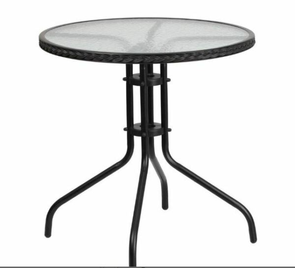 Outdoor Patio Round Coffee Dining Table Tempered Glass Top Patio Furniture Black $114.99