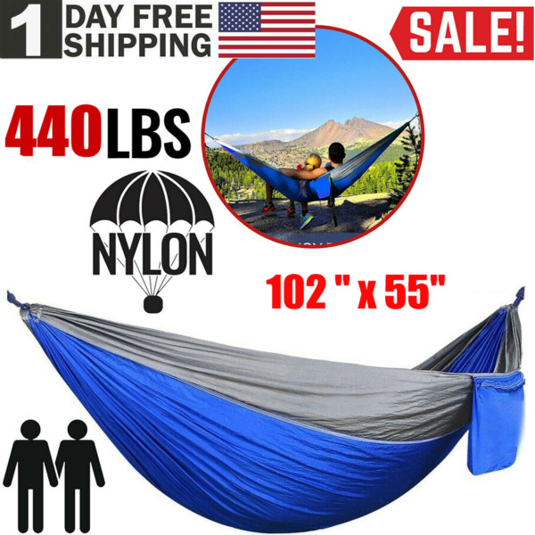 Camping Double Hammock Hunting Outdoor Garden Hanging Swing Yard Nylon Chair Bed $18.94