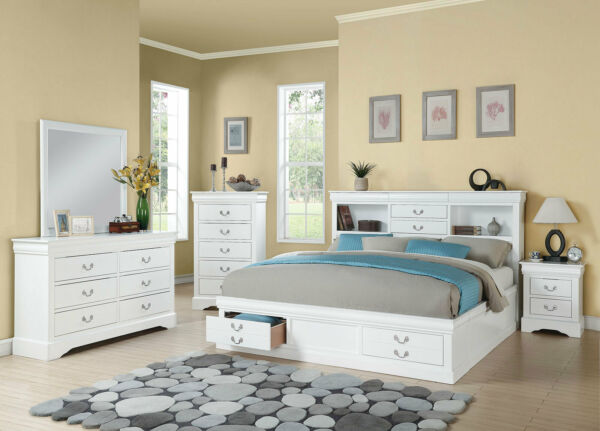 Traditional White Wood Bedroom Furniture - 5pcs Queen Size Storage Bed Set IAB6